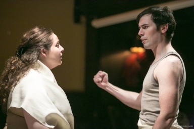 Alexandra Boroff as Clytemnestra, with Jay Donley as Achilles